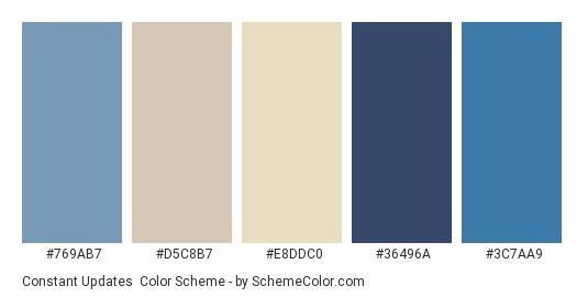 Constant Updates - Color scheme palette thumbnail - #769ab7 #d5c8b7 #e8ddc0 #36496a #3c7aa9