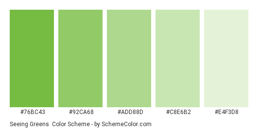 Seeing Greens - Color scheme palette thumbnail - #76BC43 #92CA68 #ADD88D #C8E6B2 #E4F3D8