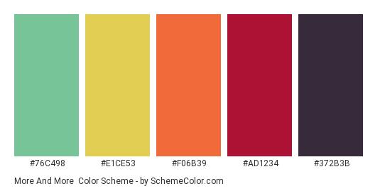 More and More - Color scheme palette thumbnail - #76C498 #E1CE53 #F06B39 #AD1234 #372B3B