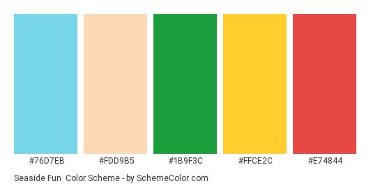 Seaside Fun - Color scheme palette thumbnail - #76D7EB #FDD9B5 #1B9F3C #FFCE2C #E74844