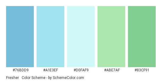Fresher & Better - Color scheme palette thumbnail - #76bdd9 #A1E3EF #D0FAF9 #ABE7AF #83cf91