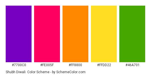 Shubh Diwali - Color scheme palette thumbnail - #7700c0 #fe005f #ff8800 #ffdd22 #46a701