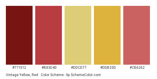 Vintage Yellow, Red & Maroon - Color scheme palette thumbnail - #771512 #B83D40 #DDCD77 #DDB33D #CB6262