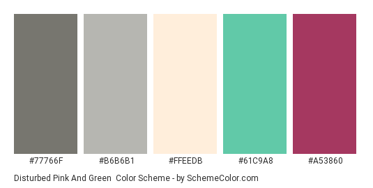 Disturbed Pink And Green Color Scheme Palette Thumbnail 77766f B6b6b1 Ffeedb