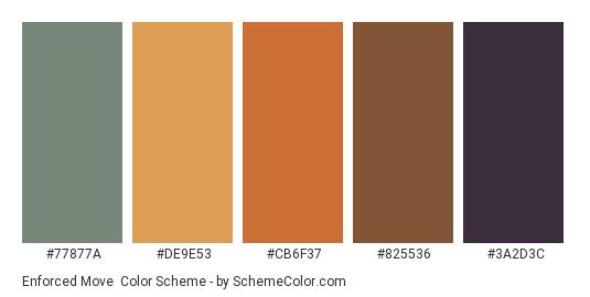 Enforced Move - Color scheme palette thumbnail - #77877a #de9e53 #cb6f37 #825536 #3a2d3c