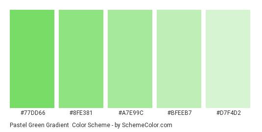 Pastel Green Gradient - Color scheme palette thumbnail - #77DD66 #8FE381 #A7E99C #BFEEB7 #D7F4D2