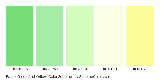 Pastel Green and Yellow - Color scheme palette thumbnail - #77DD76 #A6ECA8 #D2FDBB #FBFDE1 #FDFD97