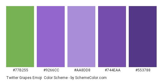 Twitter Grapes Emoji - Color scheme palette thumbnail - #77b255 #9266cc #aa8dd8 #744eaa #553788