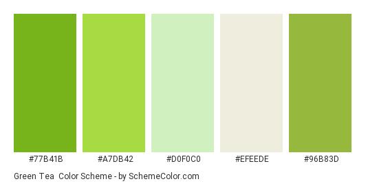 Green Tea Color Scheme Palette Thumbnail 77b41b A7db42 D0f0c0 Efeede