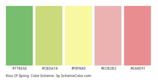 Kiss of Spring - Color scheme palette thumbnail - #77be6e #cbda7a #f8f8a0 #ecb2b2 #ea8d91