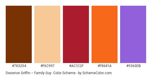 Deserion Griffin – Family Guy - Color scheme palette thumbnail - #783204 #f6c997 #ac1c2f #f8681a #9360db