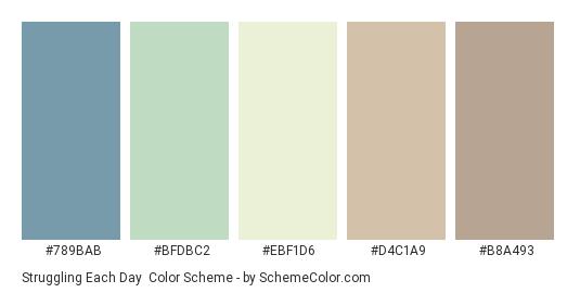 Struggling Each Day - Color scheme palette thumbnail - #789BAB #BFDBC2 #EBF1D6 #D4C1A9 #B8A493