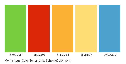 Momentous - Color scheme palette thumbnail - #78cd3f #dc2808 #fbb234 #fedd74 #4da2cd