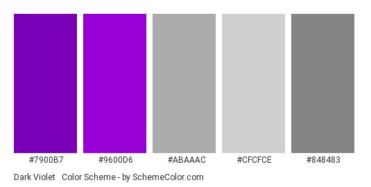 Dark Violet & Silver - Color scheme palette thumbnail - #7900b7 #9600d6 #abaaac #cfcfce #848483