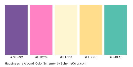 Happiness is Around - Color scheme palette thumbnail - #79569C #FE82C4 #FEF6D0 #FFDD8C #56BFAD