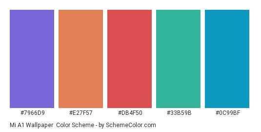 Mi A1 Wallpaper - Color scheme palette thumbnail - #7966d9 #e27f57 #db4f50 #33b59b #0c99bf