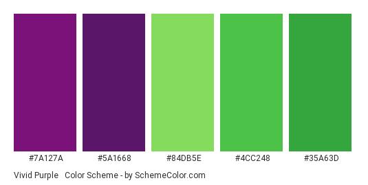 Vivid Purple & Green - Color scheme palette thumbnail - #7A127A #5A1668 #84DB5E #4CC248 #35A63D