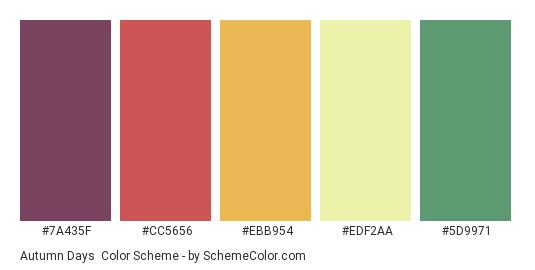 Autumn Days - Color scheme palette thumbnail - #7A435F #CC5656 #EBB954 #EDF2AA #5D9971
