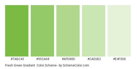Fresh Green Gradient - Color scheme palette thumbnail - #7ABC43 #95CA68 #AFD88D #CAE6B2 #E4F3D8