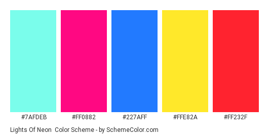 Lights of Neon - Color scheme palette thumbnail - #7AFDEB #FF0882 #227AFF #FFE82A #FF232F