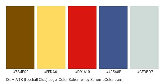 ISL – ATK (football club) Logo - Color scheme palette thumbnail - #7B4E00 #FFDA61 #D91610 #40568F #CFDBD7