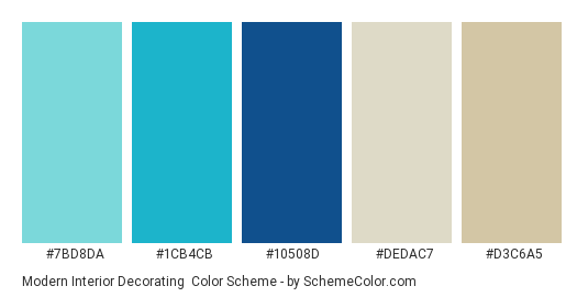 Modern Interior Decorating - Color scheme palette thumbnail - #7BD8DA #1CB4CB #10508D #dedac7 #d3c6a5