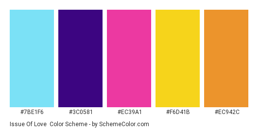 Issue of Love - Color scheme palette thumbnail - #7BE1F6 #3C0581 #EC39A1 #F6D41B #EC942C