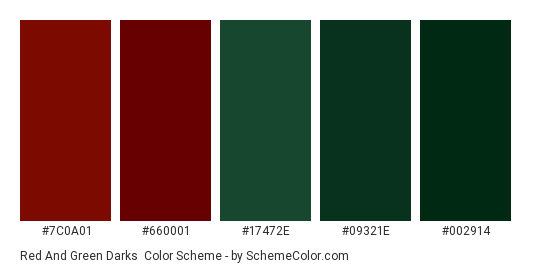 Red and Green Darks - Color scheme palette thumbnail - #7C0A01 #660001 #17472e #09321e #002914
