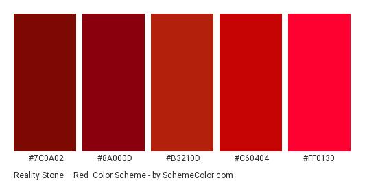 Reality Stone – Red - Color scheme palette thumbnail - #7C0A02 #8A000D #B3210D #C60404 #FF0130