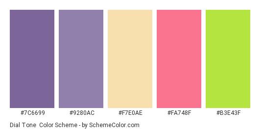 Dial Tone - Color scheme palette thumbnail - #7C6699 #9280AC #F7E0AE #FA748F #B3E43F