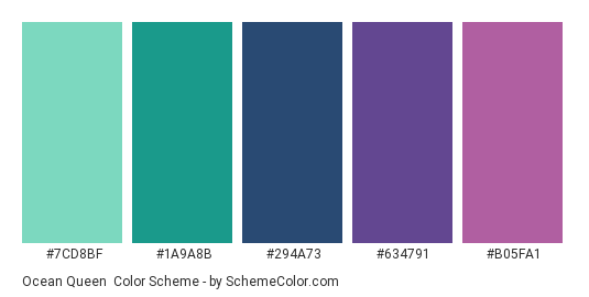 Ocean Queen - Color scheme palette thumbnail - #7CD8BF #1A9A8B #294A73 #634791 #B05FA1