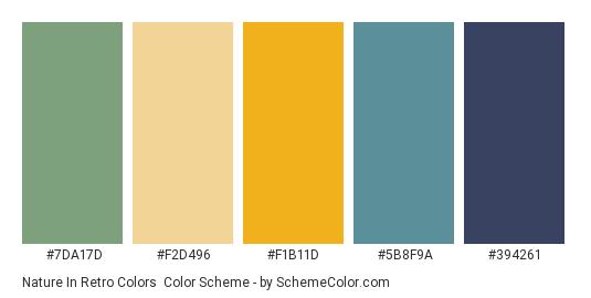Nature in Retro Colors - Color scheme palette thumbnail - #7DA17D #F2D496 #F1B11D #5B8F9A #394261