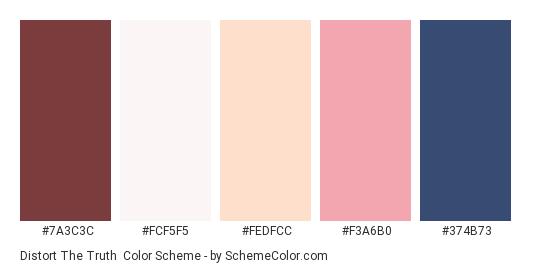 Distort the Truth - Color scheme palette thumbnail - #7a3c3c #fcf5f5 #fedfcc #f3a6b0 #374b73