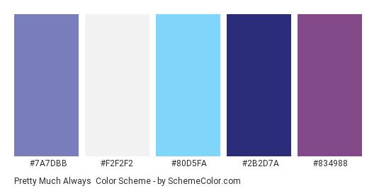 Pretty Much Always - Color scheme palette thumbnail - #7a7dbb #f2f2f2 #80d5fa #2b2d7a #834988