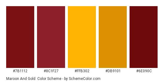 Maroon and Gold - Color scheme palette thumbnail - #7b1112 #8c1f27 #ffb302 #db9101 #6e090c