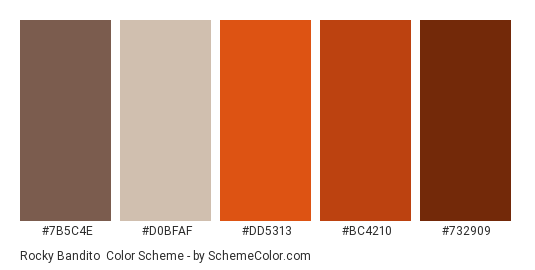 Rocky Bandito - Color scheme palette thumbnail - #7b5c4e #d0bfaf #dd5313 #bc4210 #732909