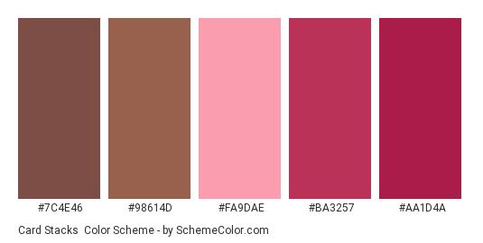 Card Stacks - Color scheme palette thumbnail - #7c4e46 #98614d #fa9dae #ba3257 #aa1d4a