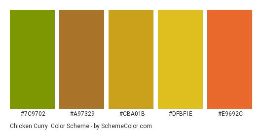 Chicken Curry - Color scheme palette thumbnail - #7c9702 #a97329 #cba01b #DFBF1E #e9692c