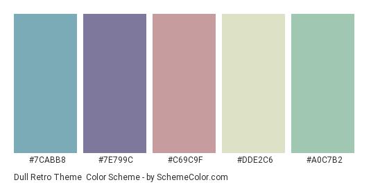 Dull Retro Theme - Color scheme palette thumbnail - #7cabb8 #7e799c #c69c9f #dde2c6 #a0c7b2