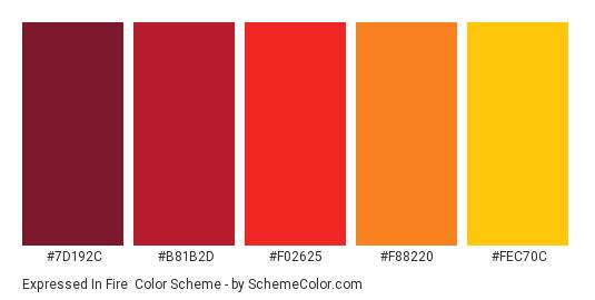 Expressed in Fire - Color scheme palette thumbnail - #7d192c #b81b2d #f02625 #f88220 #fec70c