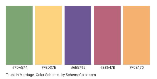 Trust in Marriage - Color scheme palette thumbnail - #7da574 #fed37e #6e5795 #b8647b #f5b170