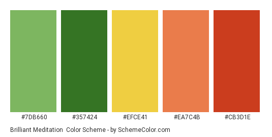 Brilliant Meditation - Color scheme palette thumbnail - #7db660 #357424 #efce41 #ea7c4b #cb3d1e