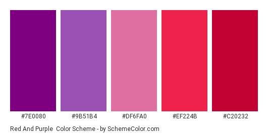 Red And Purple Color Scheme Palette Thumbnail 7e0080 9b51b4 Df6fa0