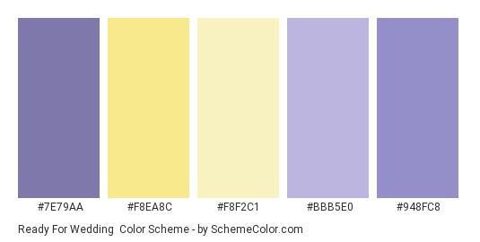 Ready for Wedding - Color scheme palette thumbnail - #7e79aa #f8ea8c #f8f2c1 #bbb5e0 #948fc8