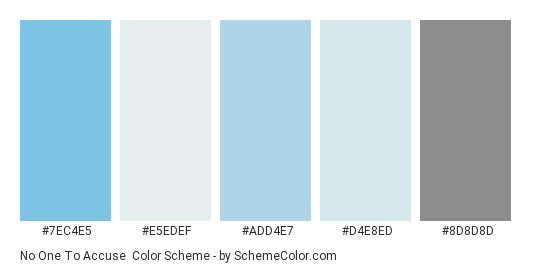 No one to Accuse - Color scheme palette thumbnail - #7ec4e5 #e5edef #add4e7 #d4e8ed #8d8d8d