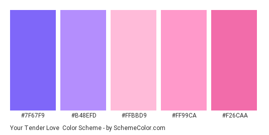 Your Tender Love - Color scheme palette thumbnail - #7f67f9 #b48efd #ffbbd9 #ff99ca #f26caa