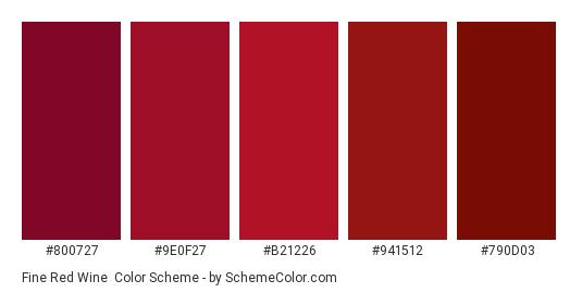 Fine Red Wine - Color scheme palette thumbnail - #800727 #9e0f27 #b21226 #941512 #790d03