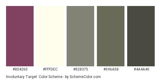 Involuntary Target - Color scheme palette thumbnail - #804260 #FFFDEC #828375 #696A58 #4A4A40