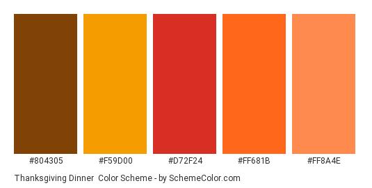 Thanksgiving Dinner - Color scheme palette thumbnail - #804305 #f59d00 #d72f24 #ff681b #ff8a4e