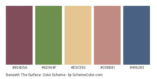 Beneath the Surface - Color scheme palette thumbnail - #804d5a #6d904f #e5c592 #c08b81 #496283